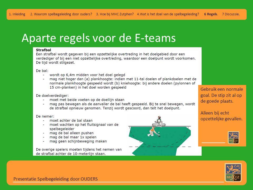 Aparte regels voor de E-teams Presentatie Spelbegeleiding door OUDERS 1. Inleiding 2. Waarom spelbegeleiding door ouders? 3. Hoe bij MHC Zutphen? 4.Wa