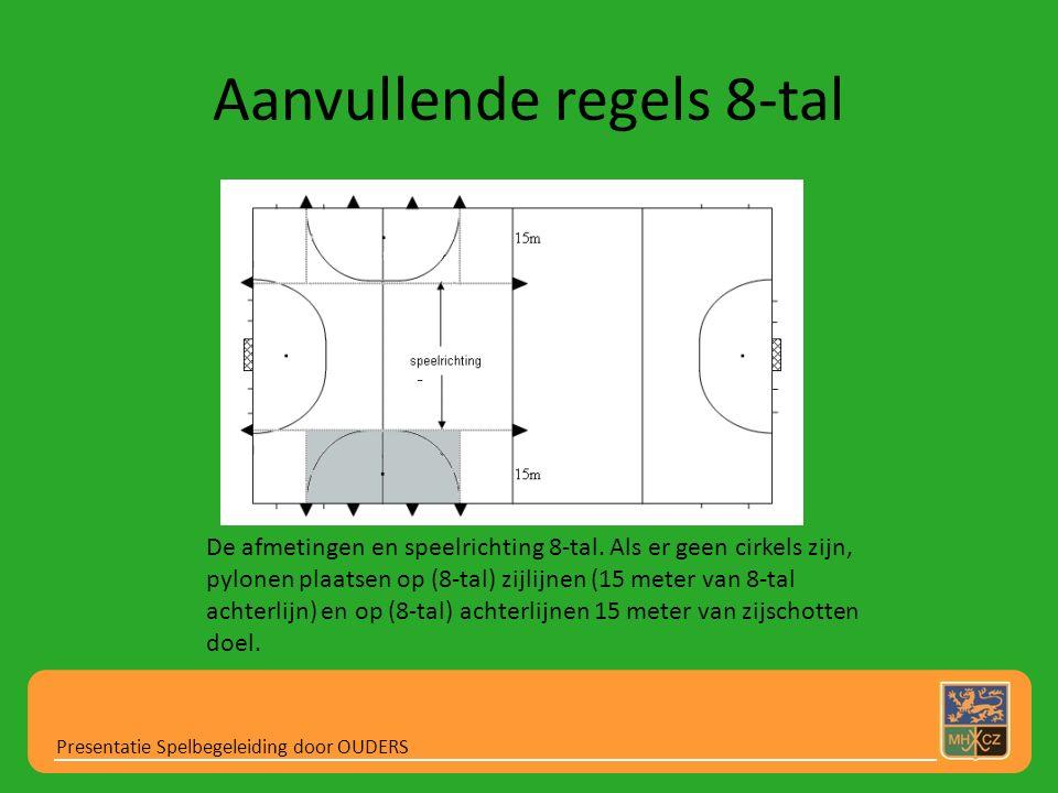Aanvullende regels 8-tal De afmetingen en speelrichting 8-tal. Als er geen cirkels zijn, pylonen plaatsen op (8-tal) zijlijnen (15 meter van 8-tal ach