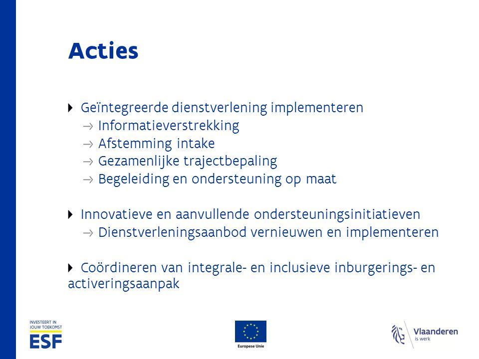 Acties Geïntegreerde dienstverlening implementeren Informatieverstrekking Afstemming intake Gezamenlijke trajectbepaling Begeleiding en ondersteuning op maat Innovatieve en aanvullende ondersteuningsinitiatieven Dienstverleningsaanbod vernieuwen en implementeren Coördineren van integrale- en inclusieve inburgerings- en activeringsaanpak