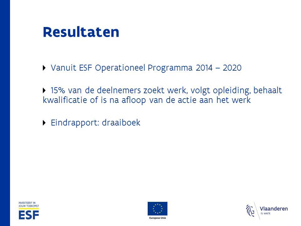 Resultaten Vanuit ESF Operationeel Programma 2014 – 2020 15% van de deelnemers zoekt werk, volgt opleiding, behaalt kwalificatie of is na afloop van de actie aan het werk Eindrapport: draaiboek