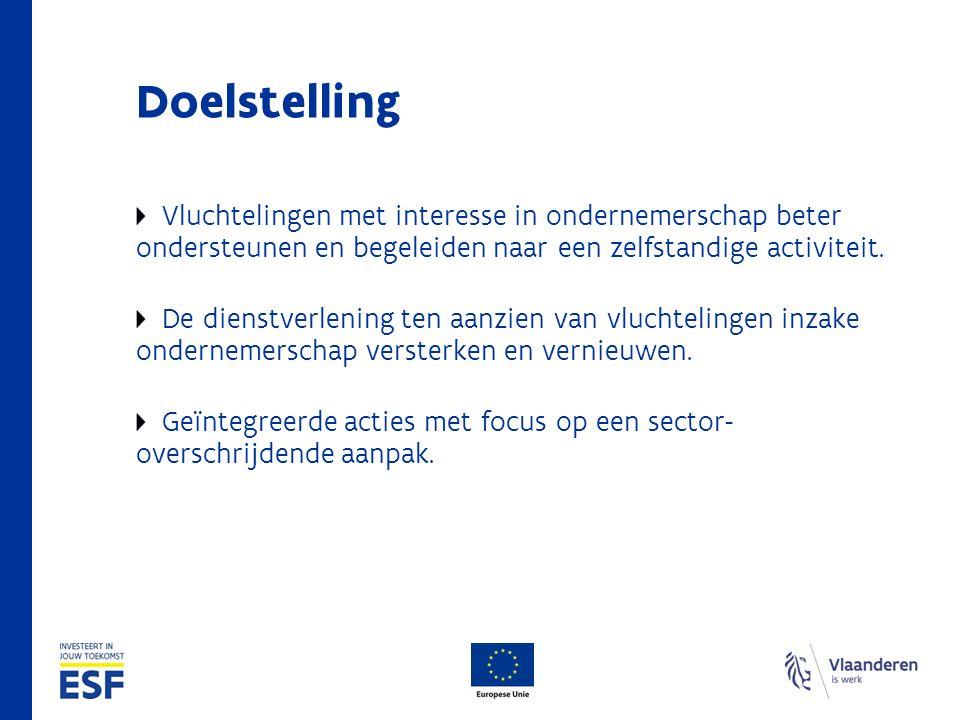 Doelstelling Vluchtelingen met interesse in ondernemerschap beter ondersteunen en begeleiden naar een zelfstandige activiteit.