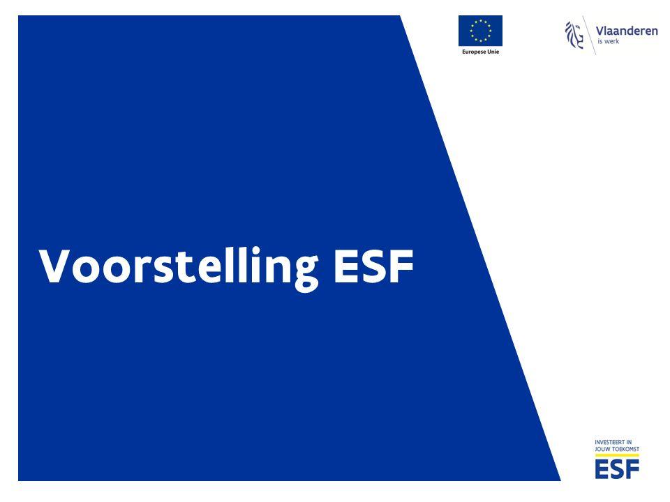 Europees Sociaal Fonds (ESF) ESF = Europees Sociaal Fonds Subsidieagentschap Doel is om maximaal de uitvoering en vernieuwing van het Vlaamse Werkgelegenheidsbeleid te versterken via middelen van de Europese Unie en de Vlaamse overheid Het ESF verdeelt deze middelen – in de vorm van subsidies - onder organisaties die de Vlaamse arbeidsmarkt versterken en de werkgelegenheid vergroten
