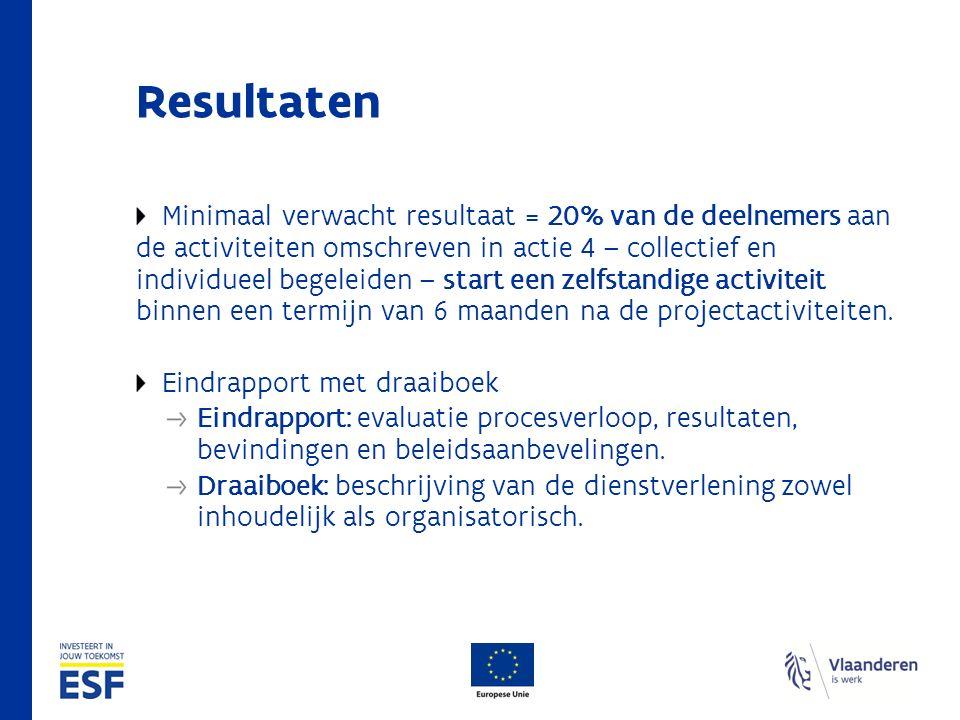 Resultaten Minimaal verwacht resultaat = 20% van de deelnemers aan de activiteiten omschreven in actie 4 – collectief en individueel begeleiden – start een zelfstandige activiteit binnen een termijn van 6 maanden na de projectactiviteiten.