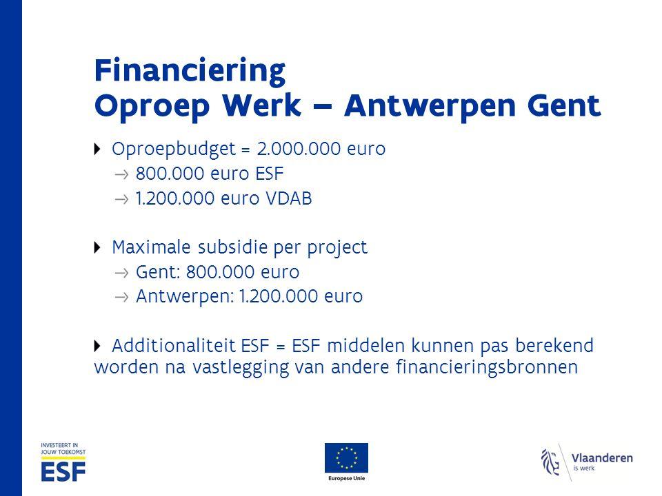 Financiering Oproep Werk – Antwerpen Gent Oproepbudget = 2.000.000 euro 800.000 euro ESF 1.200.000 euro VDAB Maximale subsidie per project Gent: 800.000 euro Antwerpen: 1.200.000 euro Additionaliteit ESF = ESF middelen kunnen pas berekend worden na vastlegging van andere financieringsbronnen