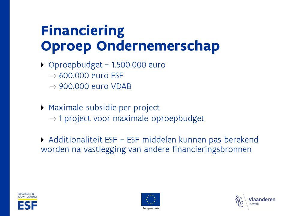 Financiering Oproep Ondernemerschap Oproepbudget = 1.500.000 euro 600.000 euro ESF 900.000 euro VDAB Maximale subsidie per project 1 project voor maximale oproepbudget Additionaliteit ESF = ESF middelen kunnen pas berekend worden na vastlegging van andere financieringsbronnen