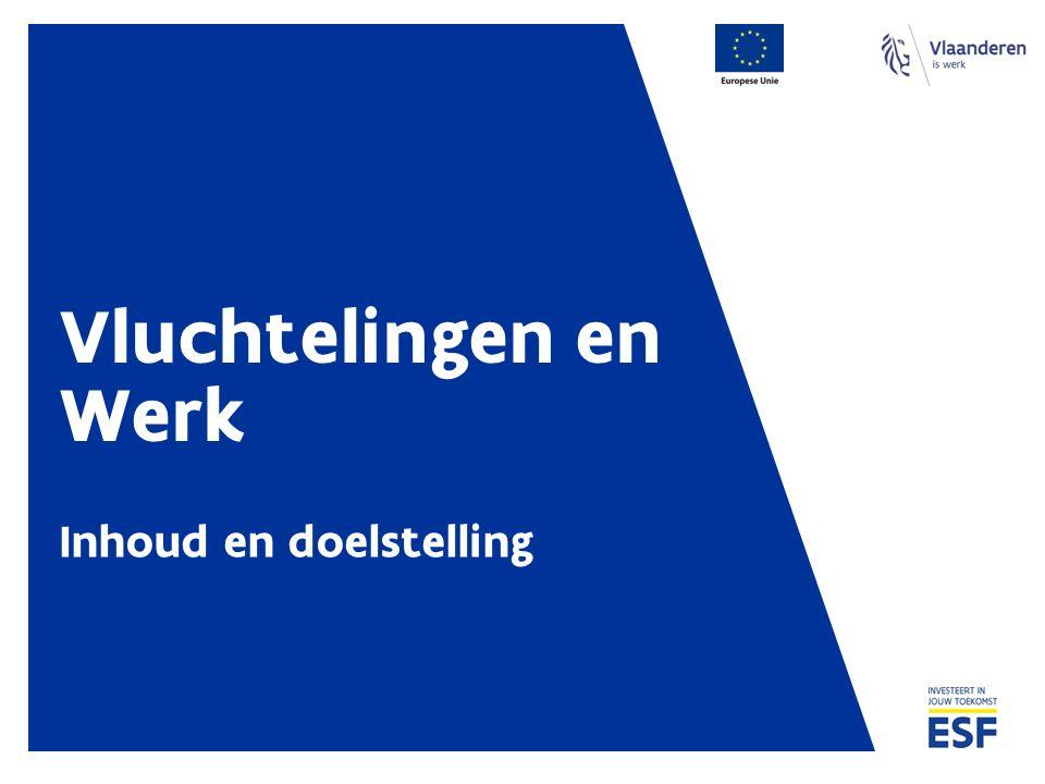Doelstelling Professionele integratie van vluchtelingen versterken in Antwerpen en Gent Capaciteit in Gent en Antwerpen versterken Afgestemde dienstverlening opzetten Begeleiding en ondersteuningsinitiatieven implementeren / uitvoeren Kennisopbouw Vluchtelingen en Werk in Vlaanderen