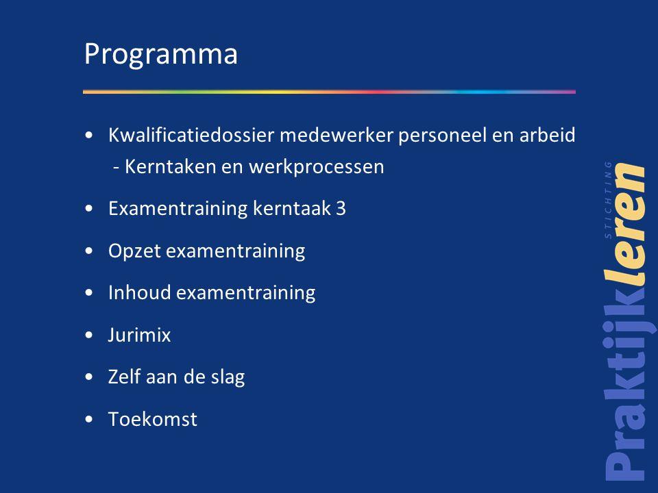 Kwalificatiedossier medewerker personeel en arbeid - Kerntaken en werkprocessen Examentraining kerntaak 3 Opzet examentraining Inhoud examentraining J