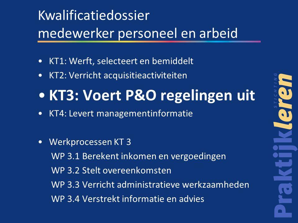 KT1: Werft, selecteert en bemiddelt KT2: Verricht acquisitieactiviteiten KT3: Voert P&O regelingen uit KT4: Levert managementinformatie Werkprocessen