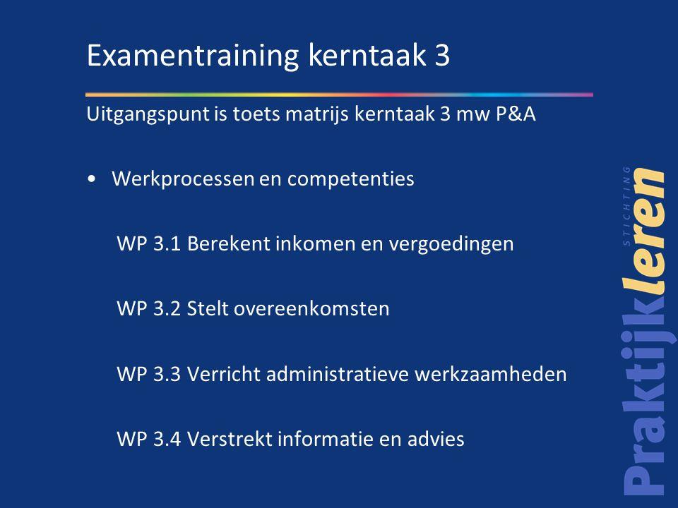 Uitgangspunt is toets matrijs kerntaak 3 mw P&A Werkprocessen en competenties WP 3.1 Berekent inkomen en vergoedingen WP 3.2 Stelt overeenkomsten WP 3