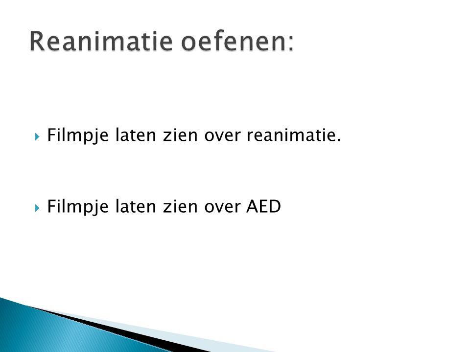  Filmpje laten zien over reanimatie.  Filmpje laten zien over AED