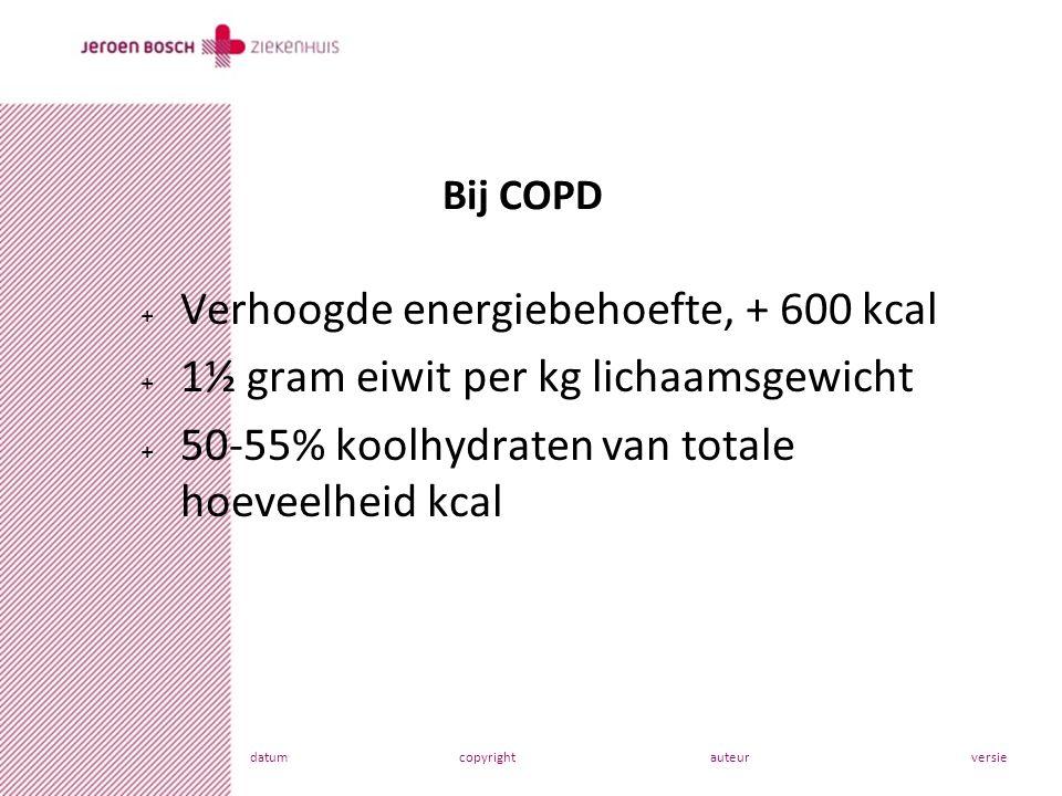 datumcopyrightauteurversie + Verhoogde energiebehoefte, + 600 kcal + 1½ gram eiwit per kg lichaamsgewicht + 50-55% koolhydraten van totale hoeveelheid kcal Bij COPD