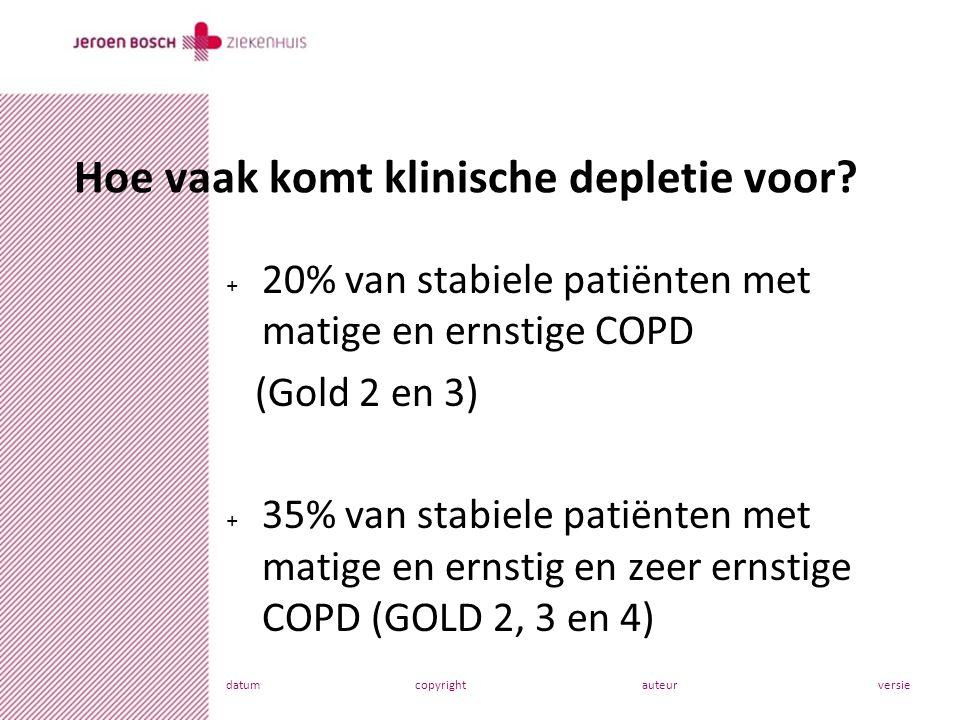 datumcopyrightauteurversie + 20% van stabiele patiënten met matige en ernstige COPD (Gold 2 en 3) + 35% van stabiele patiënten met matige en ernstig en zeer ernstige COPD (GOLD 2, 3 en 4) Hoe vaak komt klinische depletie voor