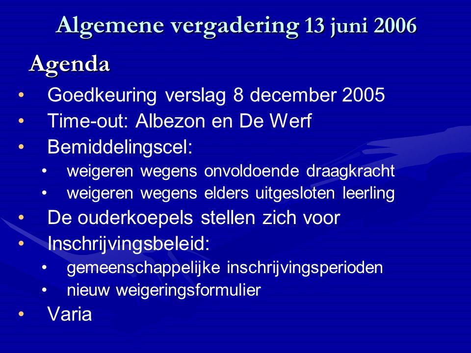 Algemene vergadering 13 juni 2006 Goedkeuring verslag 8 december 2005 Time-out: Albezon en De Werf Bemiddelingscel: weigeren wegens onvoldoende draagk