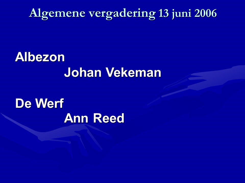 Algemene vergadering 13 juni 2006 Albezon Johan Vekeman De Werf Ann Reed