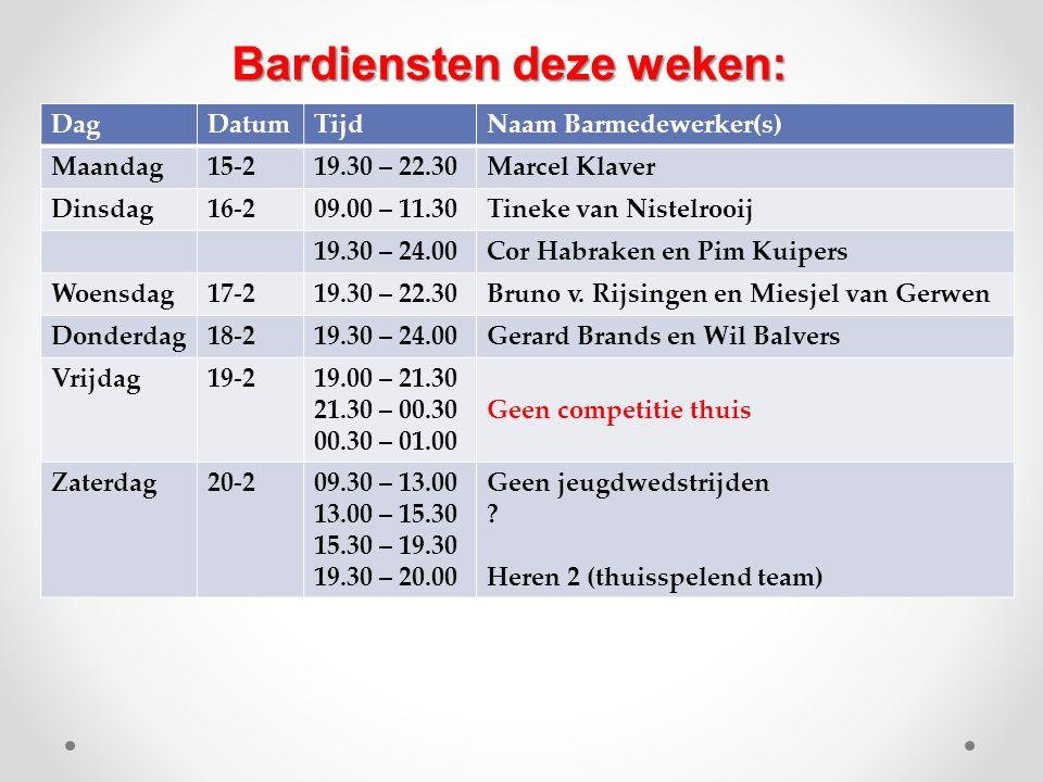 DagDatumTijdNaam Barmedewerker(s) Maandag15-219.30 – 22.30Marcel Klaver Dinsdag16-209.00 – 11.30Tineke van Nistelrooij 19.30 – 24.00Cor Habraken en Pi