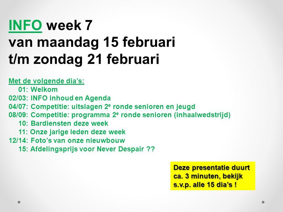 INFO week 7 van maandag 15 februari t/m zondag 21 februari Met de volgende dia's: 01: Welkom 02/03: INFO inhoud en Agenda 04/07: Competitie: uitslagen