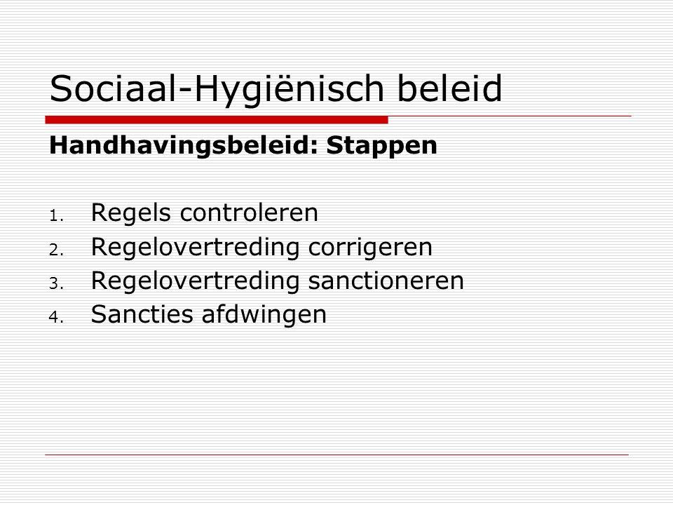Sociaal-Hygiënisch beleid Handhavingsbeleid: Stappen 1. Regels controleren 2. Regelovertreding corrigeren 3. Regelovertreding sanctioneren 4. Sancties