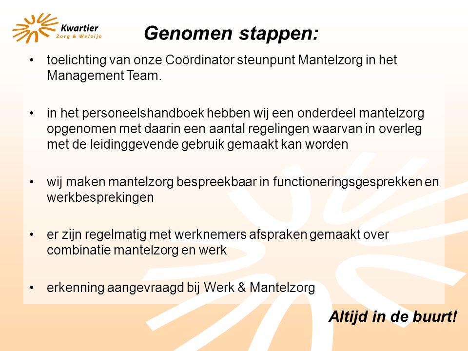 Altijd in de buurt. toelichting van onze Coördinator steunpunt Mantelzorg in het Management Team.