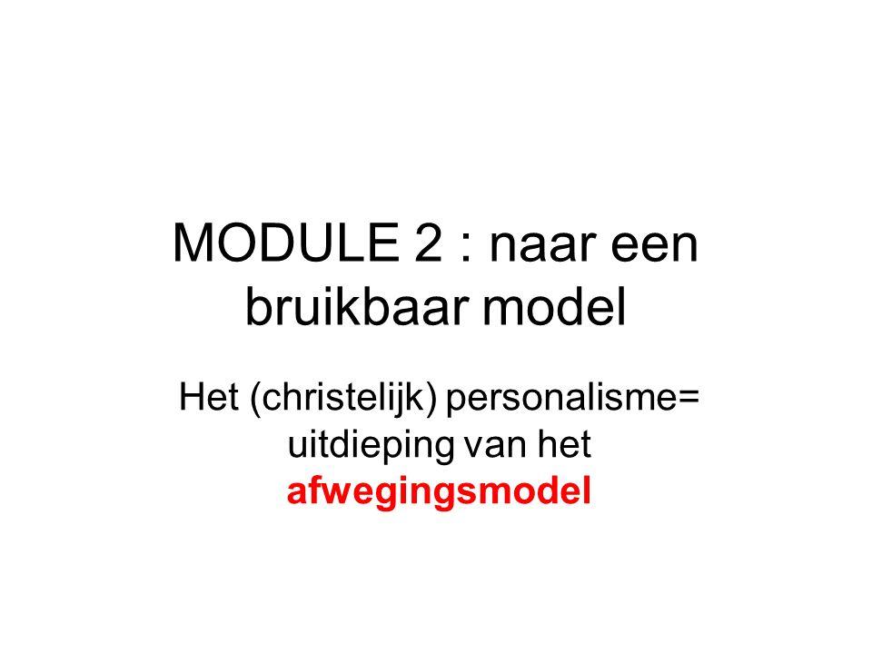 MODULE 2 : naar een bruikbaar model Het (christelijk) personalisme= uitdieping van het afwegingsmodel