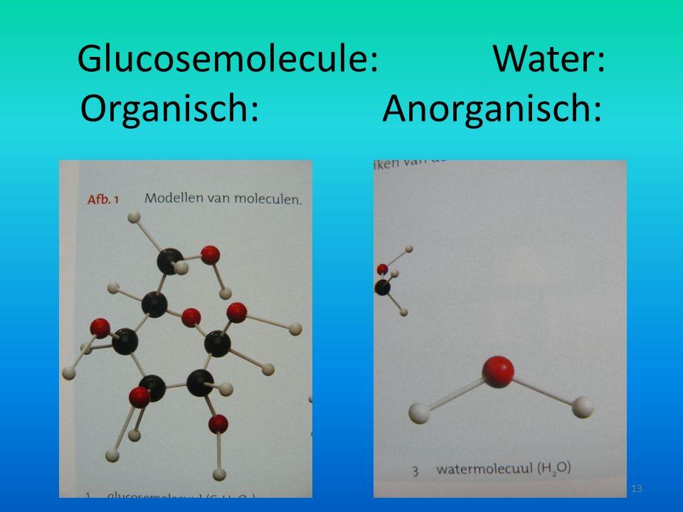 Glucosemolecule: Water: Organisch: Anorganisch: 13