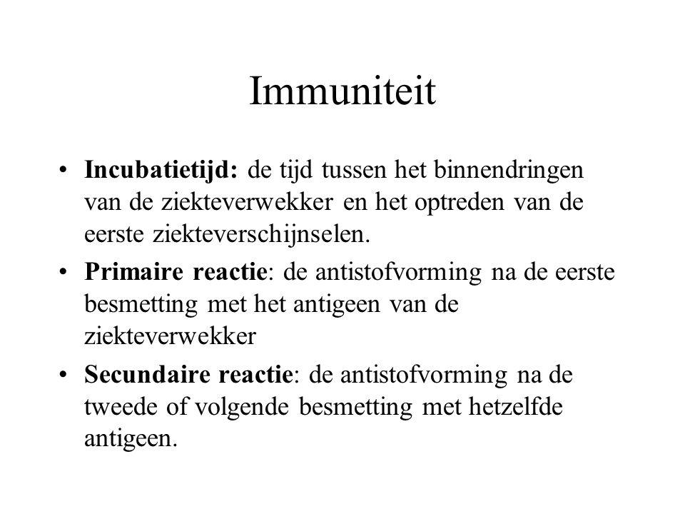 Immuniteit Incubatietijd: de tijd tussen het binnendringen van de ziekteverwekker en het optreden van de eerste ziekteverschijnselen. Primaire reactie