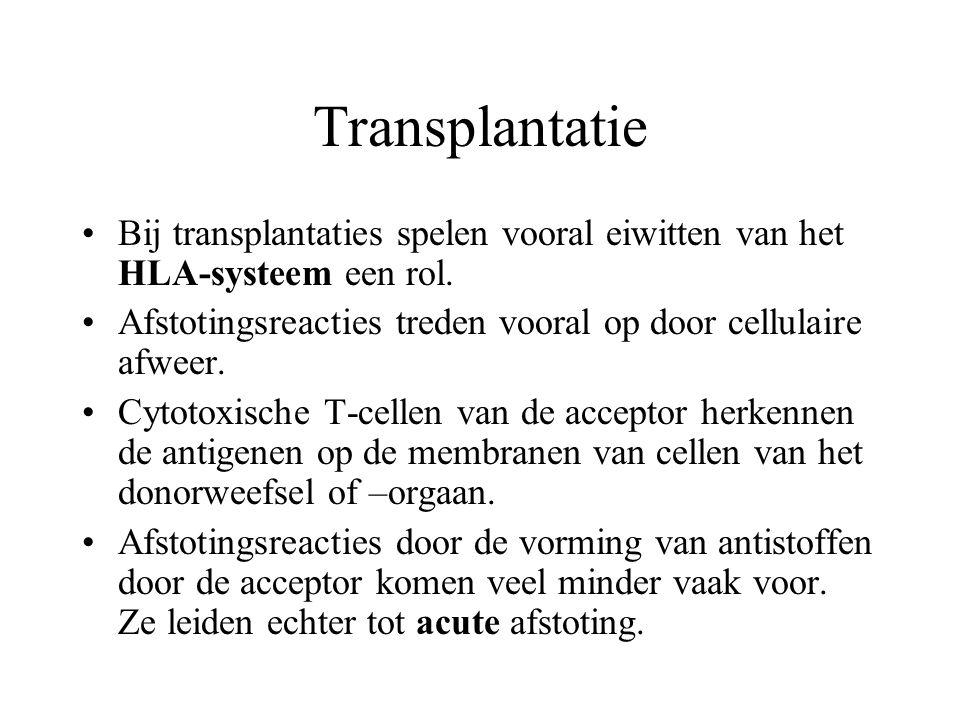 Transplantatie Bij transplantaties spelen vooral eiwitten van het HLA-systeem een rol. Afstotingsreacties treden vooral op door cellulaire afweer. Cyt