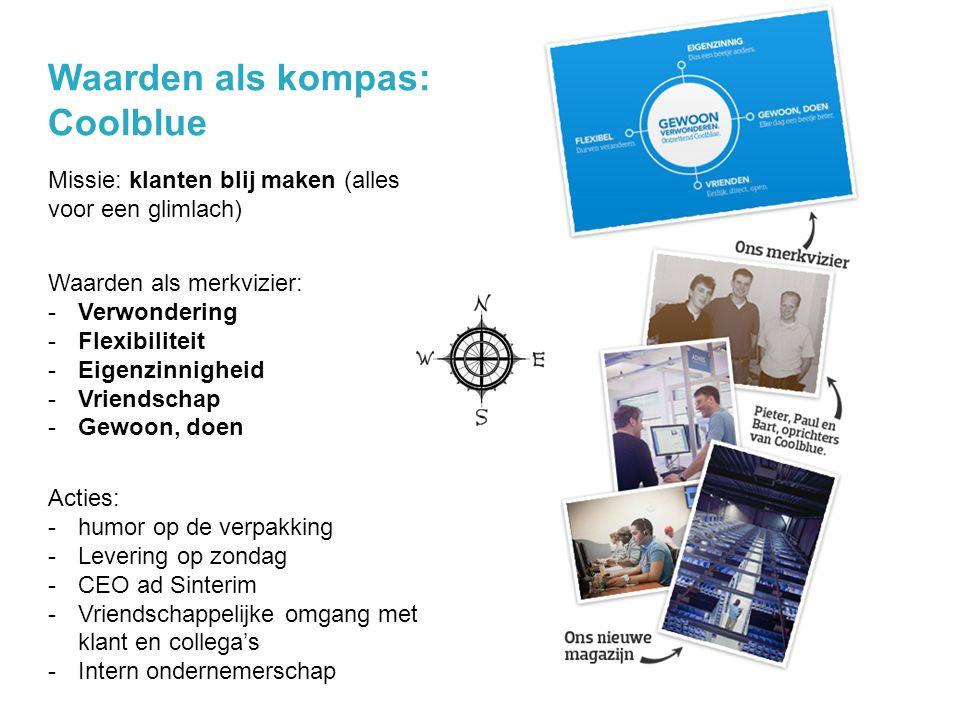 Waarden als kompas: Coolblue @jochanantweets Missie: klanten blij maken (alles voor een glimlach) Acties: -humor op de verpakking -Levering op zondag