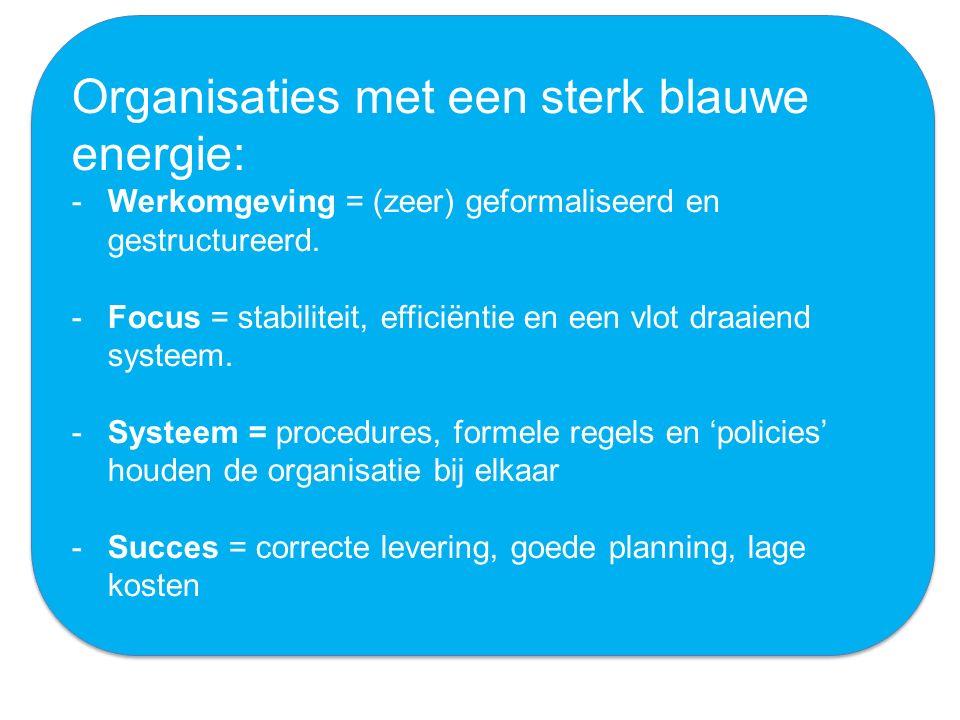 Organisaties met een sterk blauwe energie: -Werkomgeving = (zeer) geformaliseerd en gestructureerd. -Focus = stabiliteit, efficiëntie en een vlot draa