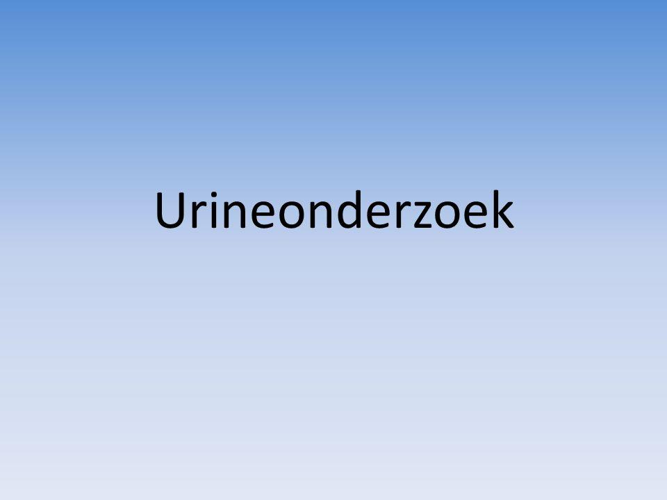 Bloed Bloed in urine is altijd pathologisch Hematurie: erytrocyten in urine – Macrohematurie: met het blote oog waarneembaar – Microhematurie: alleen microscopisch waarneembaar – Erytrocyten kunnen langs de gehele tractus urogenitalis in de urine komen – Erytrocyten microscopisch waar te nemen in sediment Hemoglobinurie: vrij hemoglobine in de urine tgv kapot gaan (hemolyse) erytrocyten Sangur-test, Hemastix