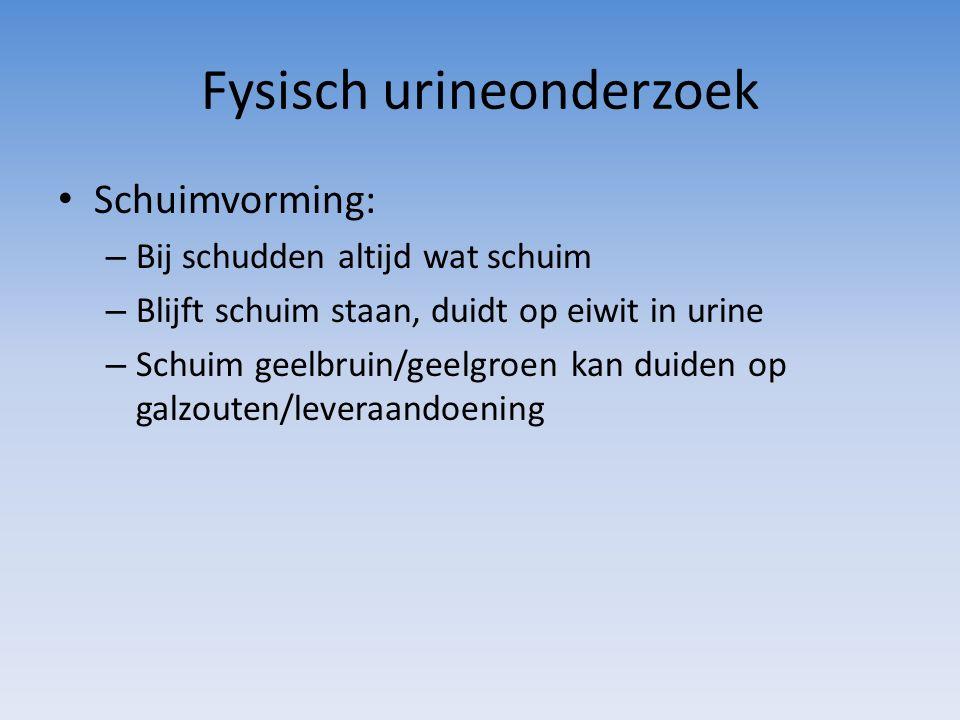 Fysisch urineonderzoek Schuimvorming: – Bij schudden altijd wat schuim – Blijft schuim staan, duidt op eiwit in urine – Schuim geelbruin/geelgroen kan