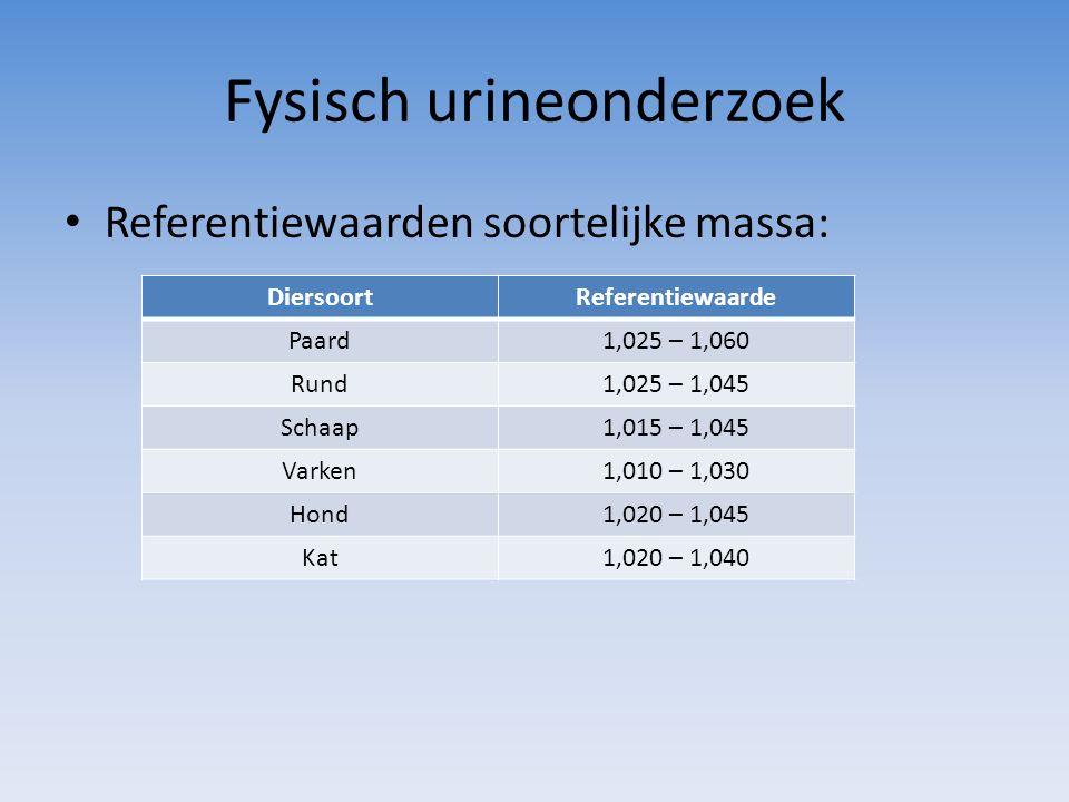 Fysisch urineonderzoek Referentiewaarden soortelijke massa: DiersoortReferentiewaarde Paard1,025 – 1,060 Rund1,025 – 1,045 Schaap1,015 – 1,045 Varken1