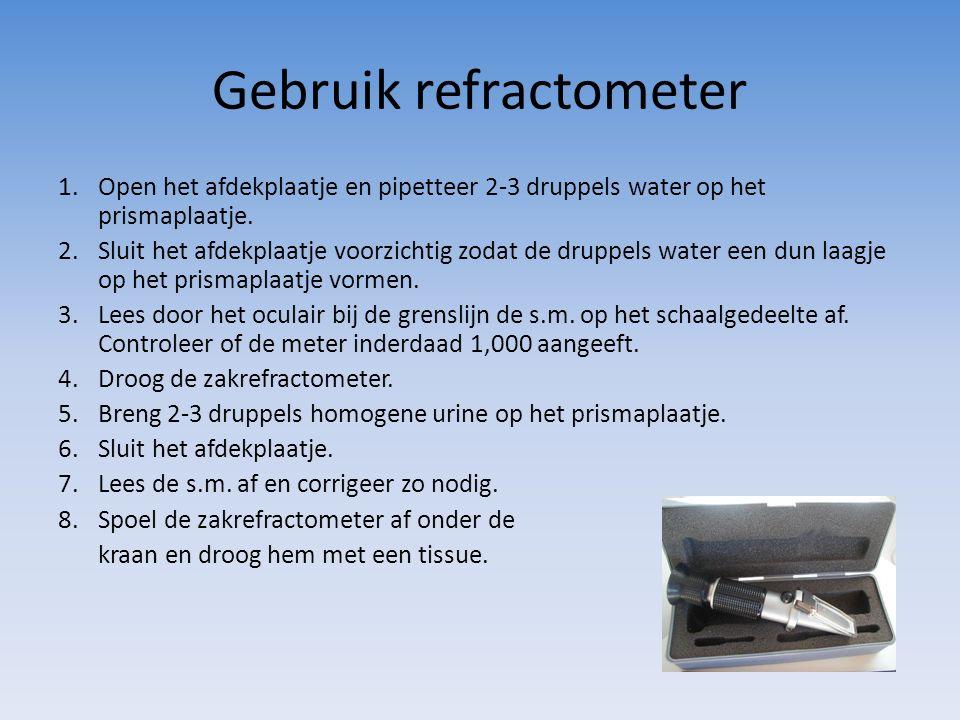 Gebruik refractometer 1.Open het afdekplaatje en pipetteer 2-3 druppels water op het prismaplaatje. 2.Sluit het afdekplaatje voorzichtig zodat de drup