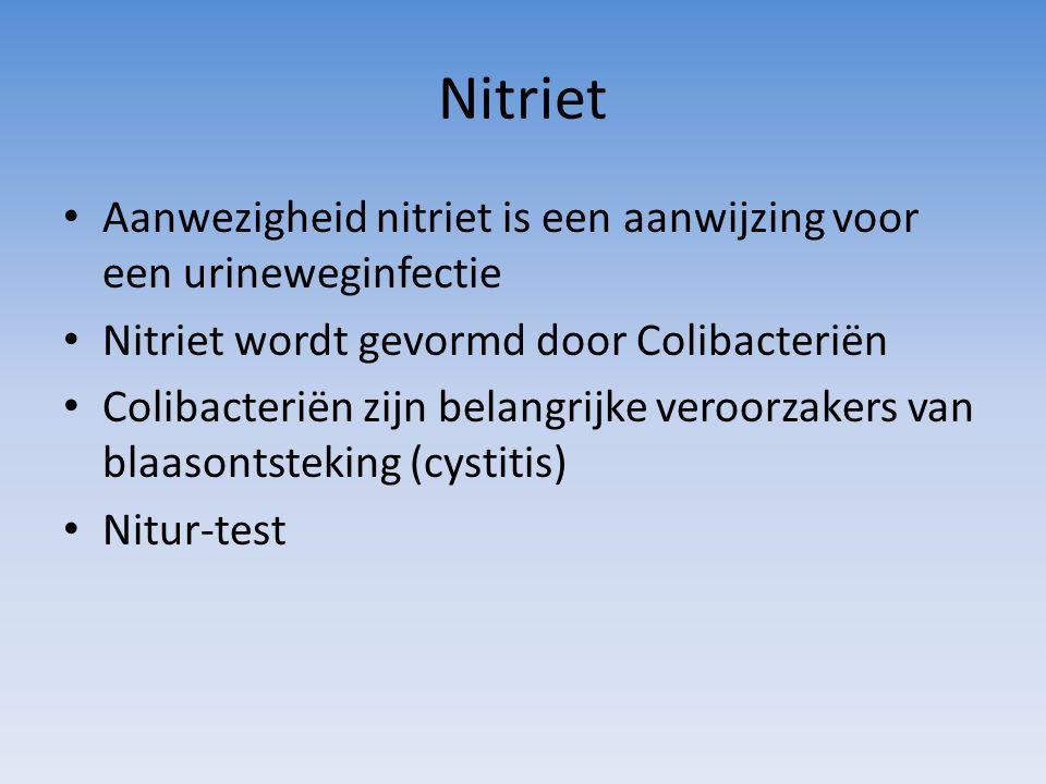 Nitriet Aanwezigheid nitriet is een aanwijzing voor een urineweginfectie Nitriet wordt gevormd door Colibacteriën Colibacteriën zijn belangrijke veroo