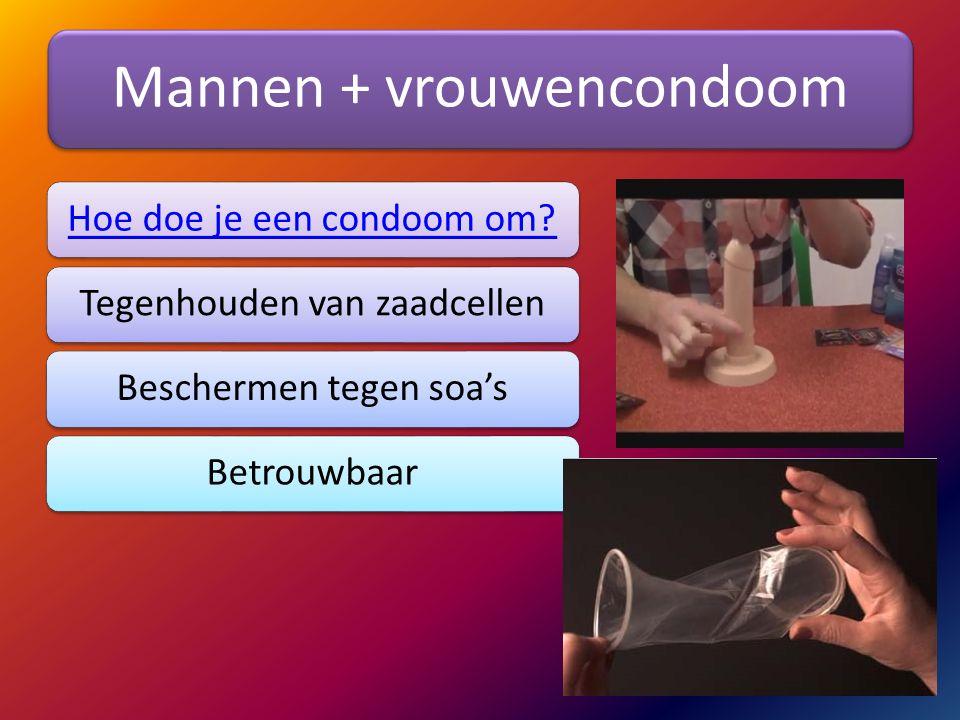 Mannen + vrouwencondoom Hoe doe je een condoom om?Tegenhouden van zaadcellenBeschermen tegen soa'sBetrouwbaar