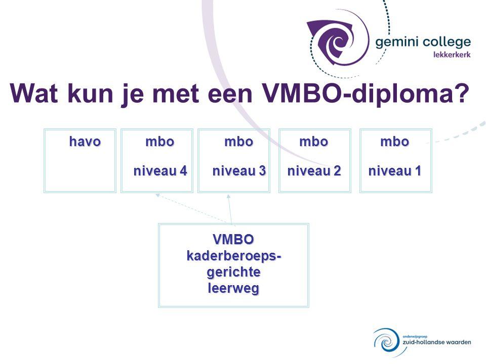 Wat kun je met een VMBO-diploma? VMBOkaderberoeps-gerichteleerweg havombo niveau 4 mbo niveau 3 mbo niveau 2 mbo niveau 1
