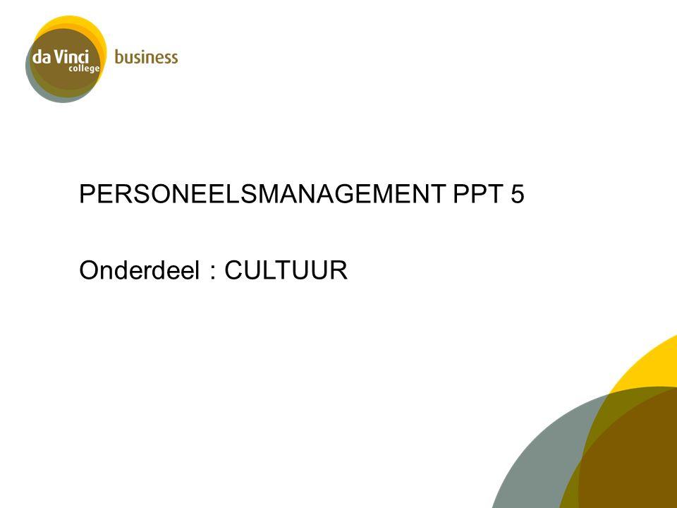 PERSONEELSMANAGEMENT PPT 5 Onderdeel : CULTUUR