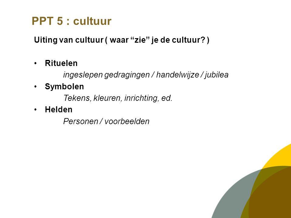 """PPT 5 : cultuur Uiting van cultuur ( waar """"zie"""" je de cultuur? ) Rituelen ingeslepen gedragingen / handelwijze / jubilea Symbolen Tekens, kleuren, inr"""