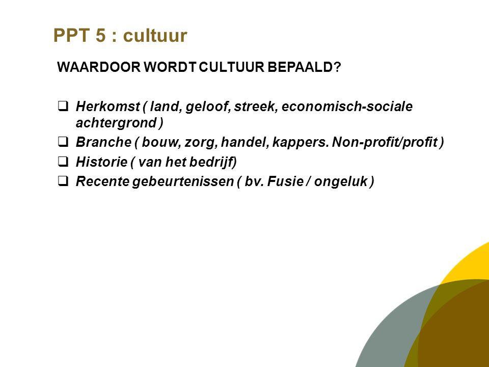 PPT 5 : cultuur WAARDOOR WORDT CULTUUR BEPAALD?  Herkomst ( land, geloof, streek, economisch-sociale achtergrond )  Branche ( bouw, zorg, handel, ka