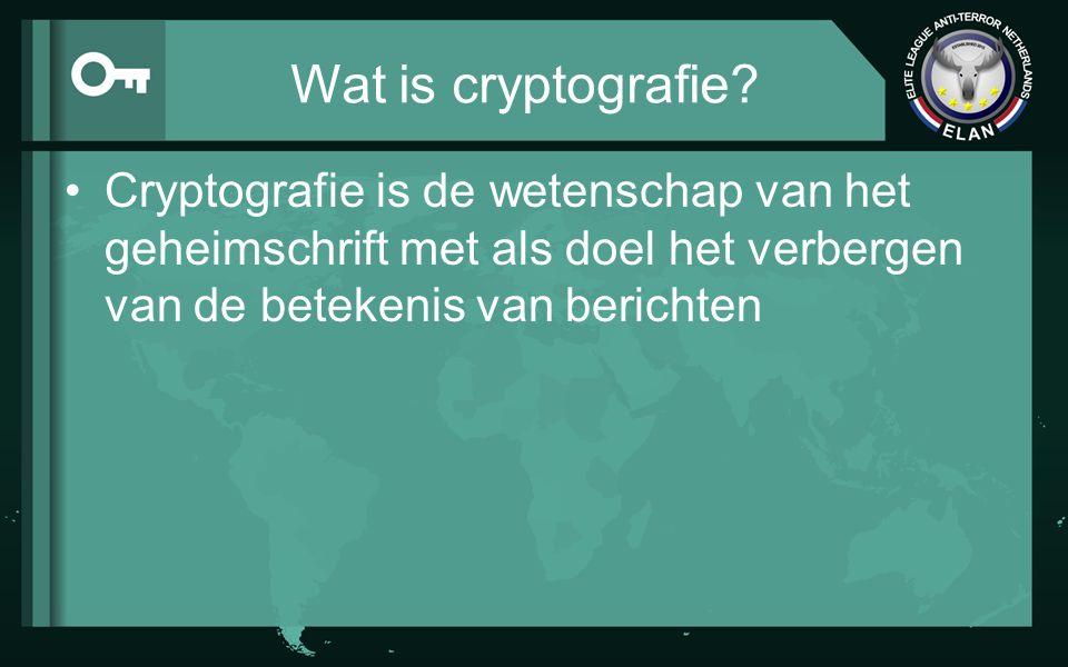 Wat is cryptografie? Cryptografie is de wetenschap van het geheimschrift met als doel het verbergen van de betekenis van berichten