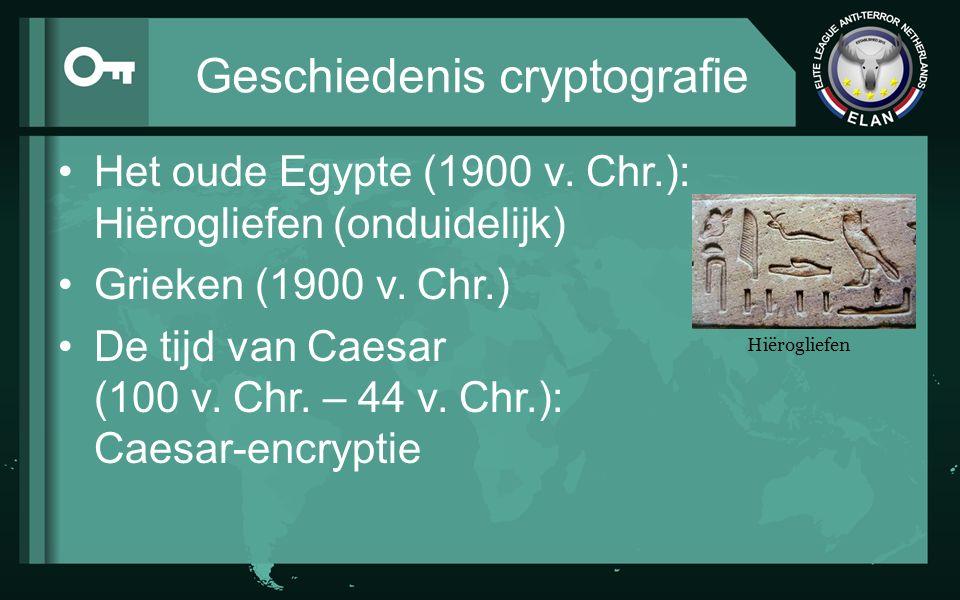 Geschiedenis cryptografie Het oude Egypte (1900 v. Chr.): Hiërogliefen (onduidelijk) Grieken (1900 v. Chr.) De tijd van Caesar (100 v. Chr. – 44 v. Ch