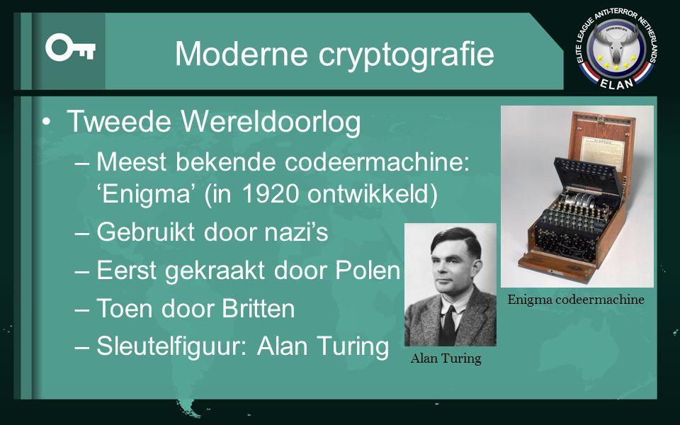 Moderne cryptografie Tweede Wereldoorlog –Meest bekende codeermachine: 'Enigma' (in 1920 ontwikkeld) –Gebruikt door nazi's –Eerst gekraakt door Polen