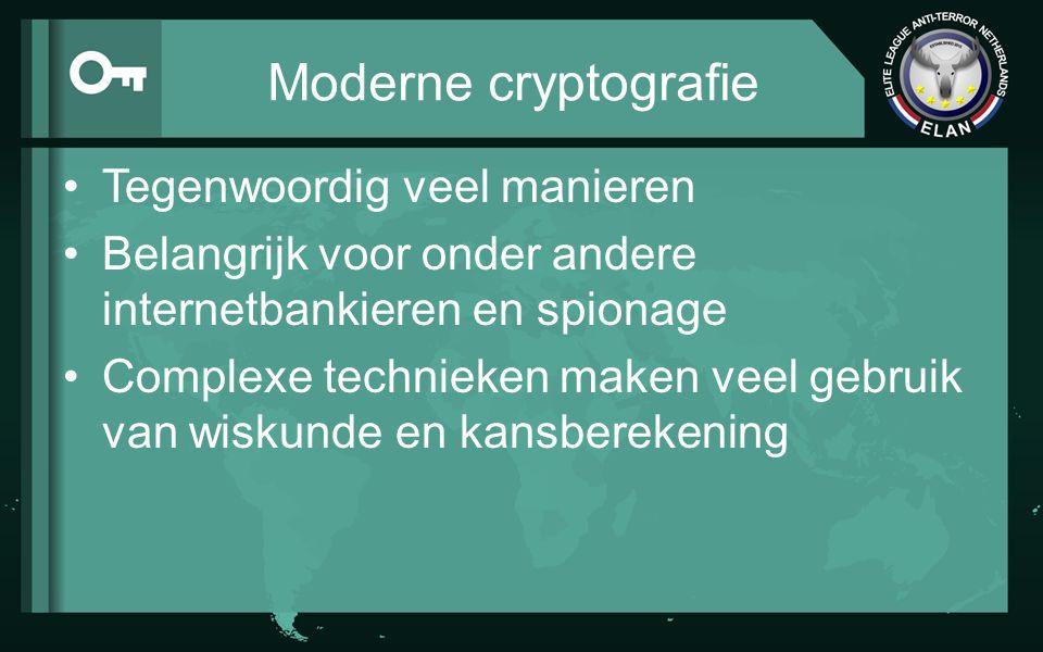 Moderne cryptografie Tegenwoordig veel manieren Belangrijk voor onder andere internetbankieren en spionage Complexe technieken maken veel gebruik van