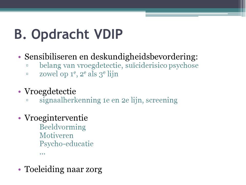 B. Opdracht VDIP Sensibiliseren en deskundigheidsbevordering: ▫belang van vroegdetectie, suïciderisico psychose ▫zowel op 1 e, 2 e als 3 e lijn Vroegd