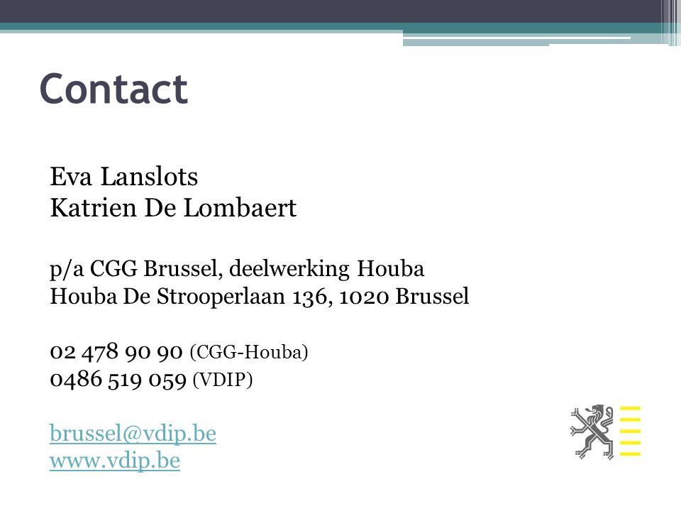 Contact Eva Lanslots Katrien De Lombaert p/a CGG Brussel, deelwerking Houba Houba De Strooperlaan 136, 1020 Brussel 02 478 90 90 (CGG-Houba) 0486 519