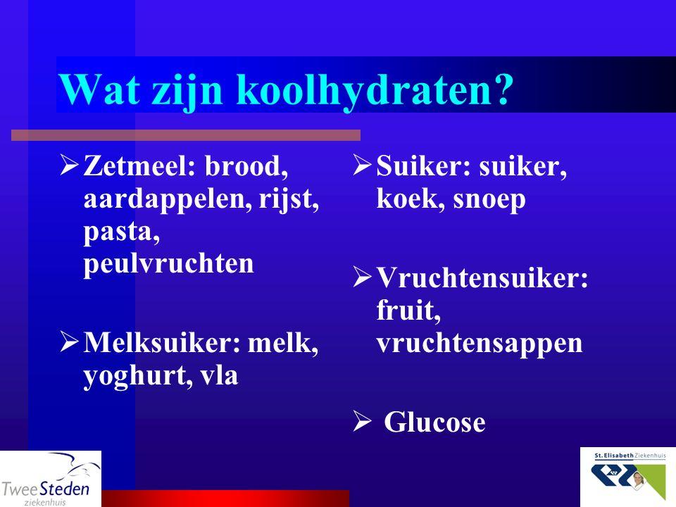 Wat zijn koolhydraten?  Zetmeel: brood, aardappelen, rijst, pasta, peulvruchten  Melksuiker: melk, yoghurt, vla  Suiker: suiker, koek, snoep  Vruc