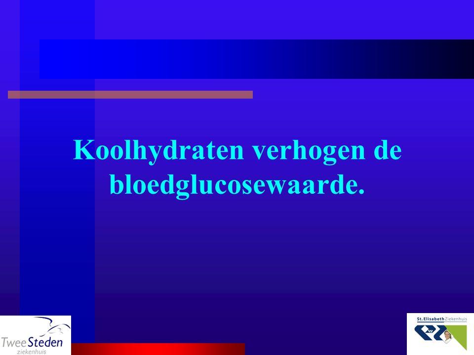 Koolhydraten verhogen de bloedglucosewaarde.