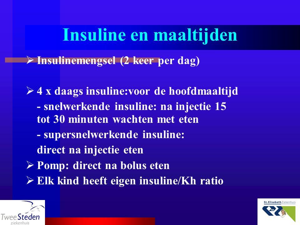 Insuline en maaltijden  Insulinemengsel (2 keer per dag)  4 x daags insuline:voor de hoofdmaaltijd - snelwerkende insuline: na injectie 15 tot 30 mi