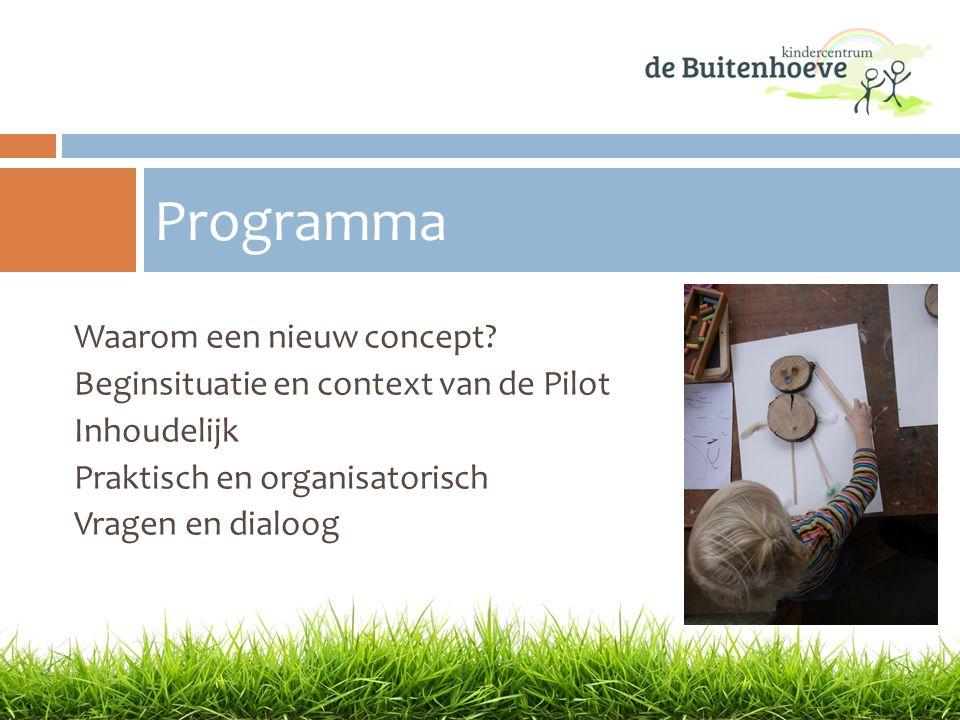 Waarom een nieuw concept? Beginsituatie en context van de Pilot Inhoudelijk Praktisch en organisatorisch Vragen en dialoog Programma
