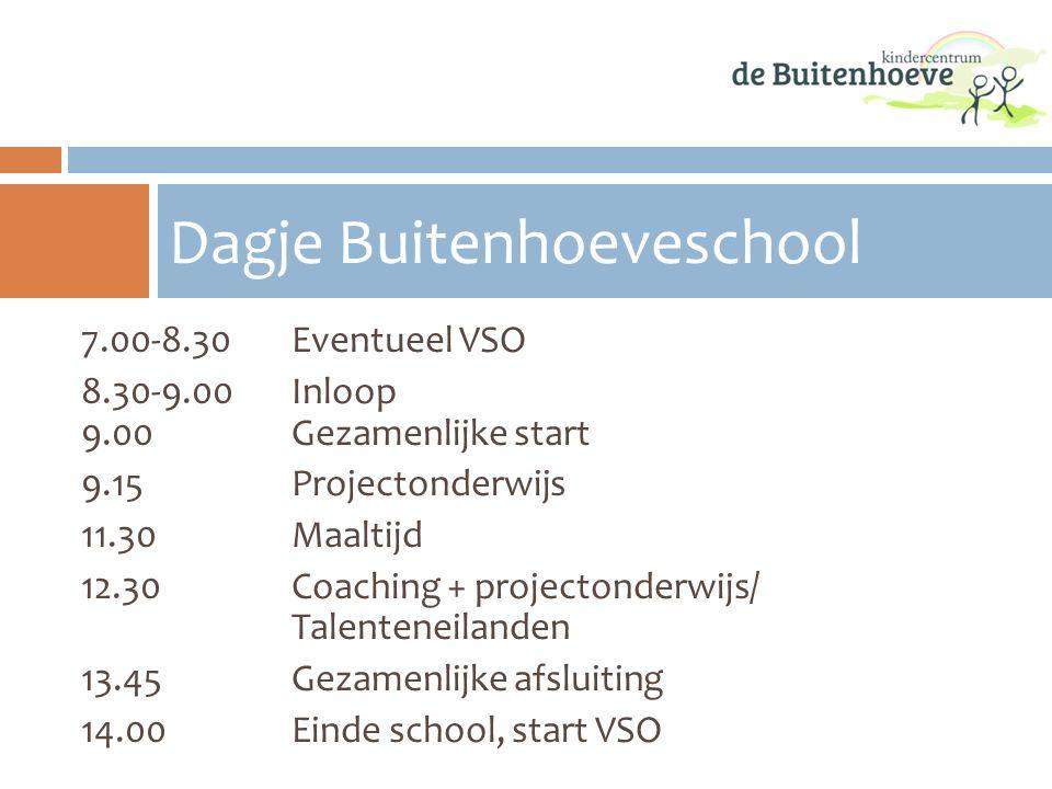 7.00-8.30Eventueel VSO 8.30-9.00 Inloop 9.00 Gezamenlijke start 9.15 Projectonderwijs 11.30 Maaltijd 12.30 Coaching + projectonderwijs/ Talenteneiland