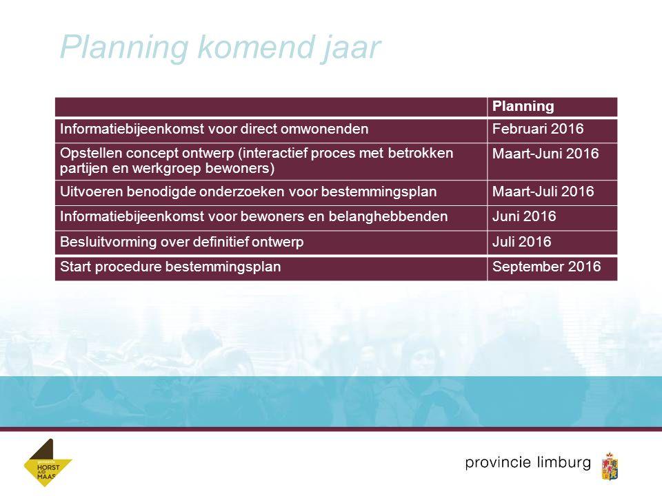 Planning komend jaar Planning Informatiebijeenkomst voor direct omwonendenFebruari 2016 Opstellen concept ontwerp (interactief proces met betrokken pa